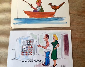 Two Unused, Uncancelled Vintage Comic Postcards