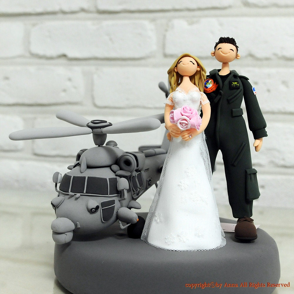 Custom Wedding Cake Topper Navy Helicopter pilot