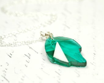 Emerald Green Leaf Necklace, Simple Sterling Silver Wire Wrapped Maple Leaf Crystal Teal Green Swarovski Crystal Pendant, Botanical Jewelry
