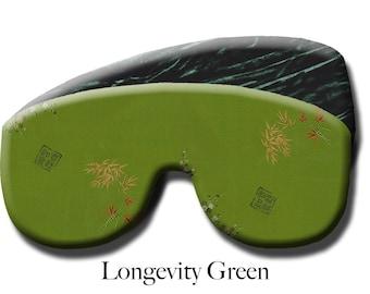 Adjustable Weighted Travel Sleep Eye Mask Pillow - Satin Brocade/Velvet – Flax Seed Filled - Optional Lavender Scent – Longevity Green