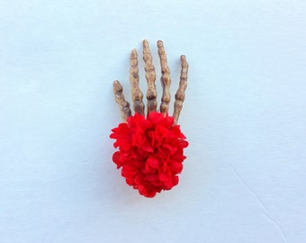 Flowers from the grave skeleton hand hair clip -red (skeleton hand flowers, skeleton hair clip, day of the dead, dia de los muertos)