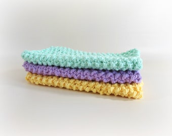 Double Knit Washcloths Set of 3 in Yellow, Purple, & Sea Green Colors