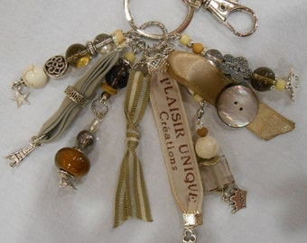 Keychain jewelry bag gray Beige ribbons