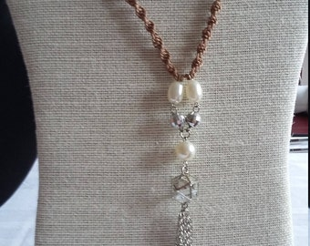 SALE: Long Macrame Handmade Necklace with Bead and Chain Pendant