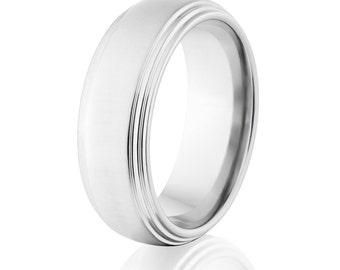 USA Cobalt Bands, Premium Cobalt Rings, Cobalt Wedding Band: CB-8HR2S-XB