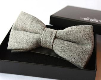 Nœud Papillon en laine flanelle couleur gris clair pour homme élégant