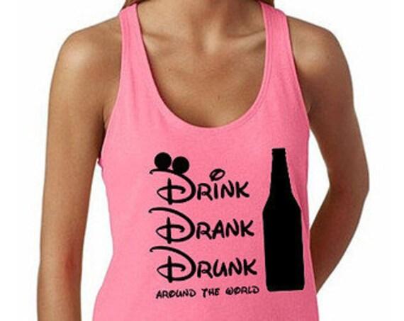 Drinking Around the World Tank Top Epcot Disney Trip Shirt