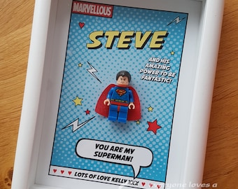 Valentines Anniversary Superhero Frames - boyfriend, girlfriend, husband, wife