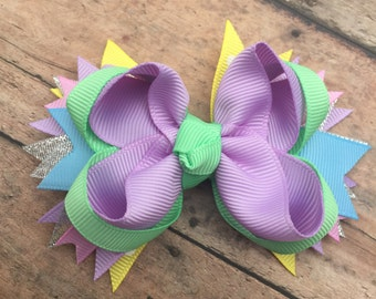 Spring hair bow - Easter hair bow - Pastel bow - Pastels - Sparkle Hair bow - Small Spring bow - Hair bow - Easter bow - Small hair bow