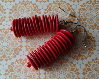Vintage Retro Red Earrings