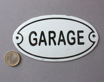Garage sign enamel Shabby, door sign Vintage, wall hanging oval classic, rustic wall plaque white black, nostalgic