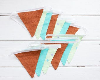 "Good Will Bunting ""Georgie"" Brown Mint Green Fabric Bunting"
