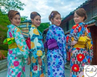 "Color Blast Kimonos -  ""Kyoto Spring Flower Girls""  Fine Art Photograph (9.5"" x 13.25"" Print on 14"" x 18"" Board) Gion District"