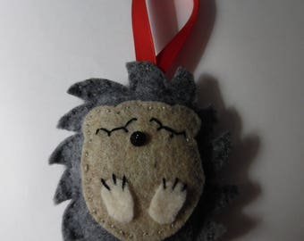 Felt Sleepy Hedgehog Christmas tree Ornament