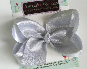 """Silver Bow -- Beautiful shimmering silver hairbow -- 4"""" or 5"""" bow"""
