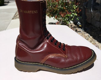 70's Vintage Dr Martens US 8 boot Solovair 1490 oxblood 10-eye cherry red 1460 uk7 dr. brown airwair eyelet hole