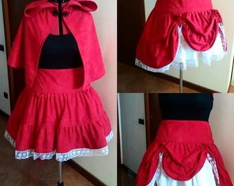 Little Red Hood Steampunk Lolita Ensemble Cape and Skirt