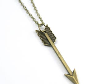 Chevron Arrow Necklace | Arrow Necklace | Long Boho Necklace | Long Layering Necklace | Brass Jewelry | Christmas Gift | Stocking Stuffer