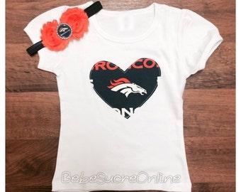 Denver Broncos Girls Puff Sleeve Top and Headband