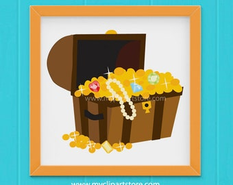 Clipart - Treasure Chest / Adventure / Pirates - (Single Clipart Image) Digital Clip Art (Instant Download)