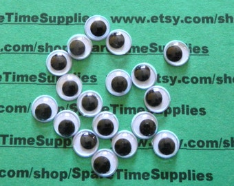 "Paste on Round Moving Eyes - white and black - 3/8"" (10mm) - 100 pcs - Fibre Craft -#7040-55"