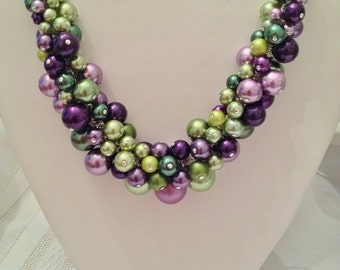 Pearl Cluster Necklace in Shades of Green and Violet - Choker, Necklace, Wedding, Bridal, Bridesmaid, Prom, HandCrafted, Party Pearls, SRAJD