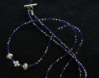 Flat sphere Silver beads with dark blue lapis lazuli bracelet/necklace (B0023)