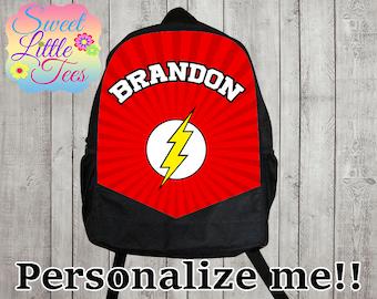 Personalized Flash/flash shirt backpack/boys backpack/personalized boys backpack/ black backpack/B113