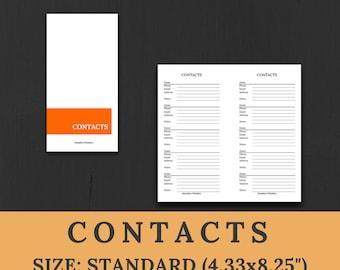 CONTACTS - address book - STANDARD size /midori regular/ traveler's notebook insert - printable digital download