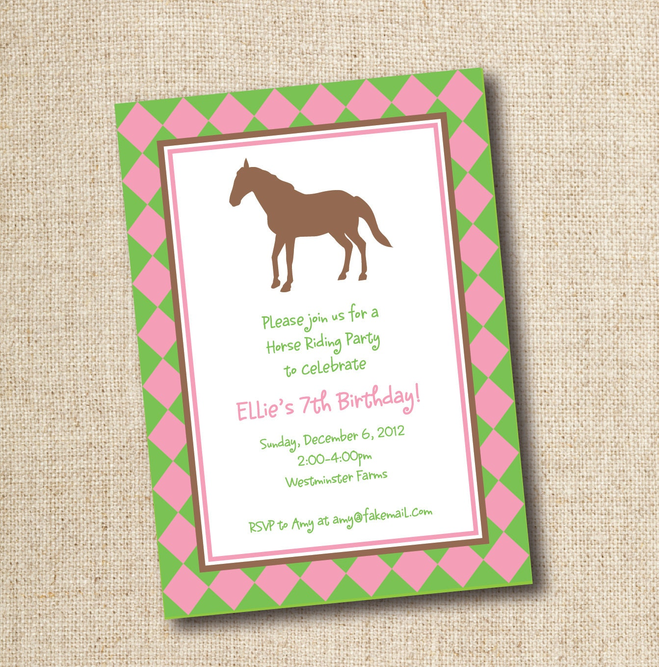 Horseback riding birthday party invitation custom printable