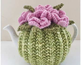 Hand-knitted floral tea cosy in pure wool - size Small (fits 1-2 cup teapots)