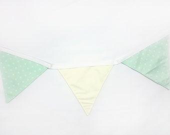 Cotton wall banner Ivory Mint Polka Dot Wall decor Nursery baby bunting Fabric garland/Wedding garland/Wall art/Wall hanging/Banners