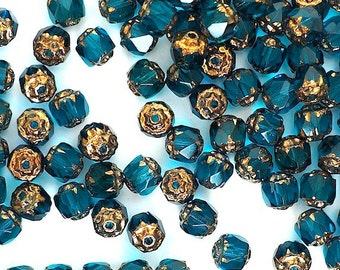 10 pieces 6mm Aqua Blue Czech Glass Cathedral Beads with Gold Bronze Ends, Destash Crystals