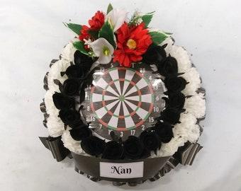 Silk Artificial Tribute Funeral Grave Round Posy Wreath - Dart Board Picture in Centre