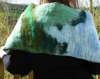 Countryside Felted Wrap/Wall hanging