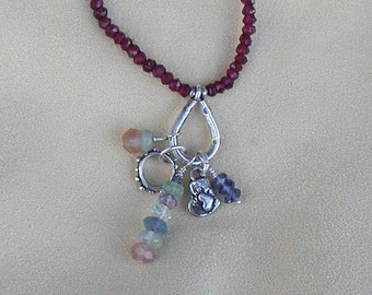 Garnet Charm Necklace