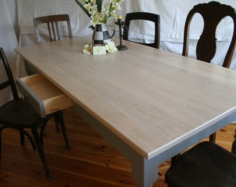 "Modern Country house Table ""Isegrimm"" in oak, vintage white"