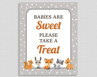 Babies Are Sweet Please Take A Treat Shower Sign, Winter Woodland Animal Dessert Table Sign, Favor Sign, INSTANT PRINTABLE