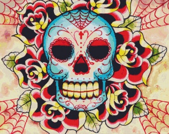 Modern Cross Stitch Kit By Carissa Rose 'Sugar Skull' -  Day Of The Dead Counted CrossStitch Kit