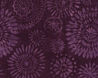 Batik Kaleidoscope Medallion Purple Timeless Treasures Fabric 1 yard