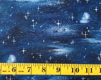 Elizabeth Studio Night Sky Stars Landscape Melody 430 Cotton Fabric By the Yard