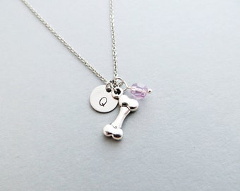 Bone Initial Necklace Personalized Hand Stamped - with Silver Dog Bone Charm and Custom Bead