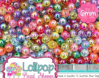 Transparent Iridescent Beads Aurora Borealis Bead Mix 6mm Beads Acrylic Beads Round Beads Plastic Spacer Beads Bubblegum Beads Pkg 100