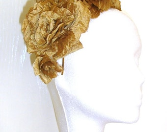SALE Bridal Silk Flowers, Bridal Headpiece, Antique Gold Silk Flower Hair Accessory