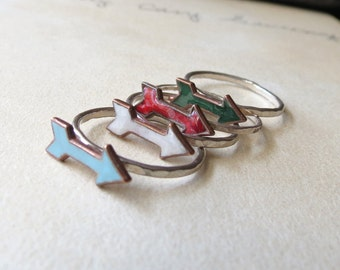 Enamel Arrow Rings on Sterling silver bands Clearance Sale Midi Ring Enamel Ring blue ring