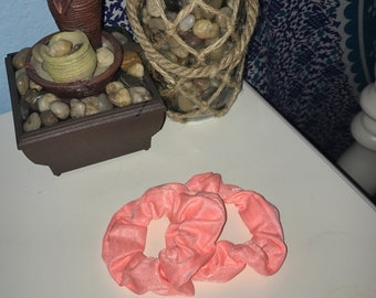 blush pink shimmer scrunchies!