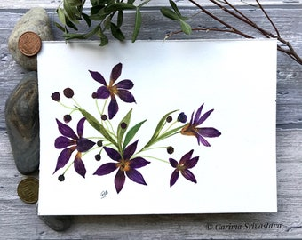 original flower watercolor art loose floral  painting wall art violet yellow bright cheerful nursery botanical illustration small aquarelle