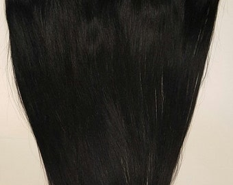 "18"" Weft Hair, 100grs,Weft Weaving (Without Clips),100% Human Hair Extensions #1 Jet Black"