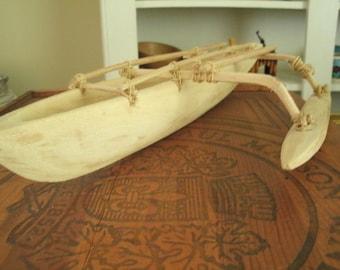 Vintage Wooden Boat -Nautical Folkart