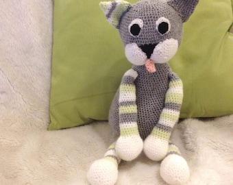 Handmade - customizable - Amigurumi striped cat